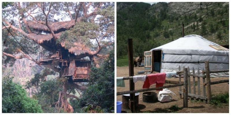 Bijzondere overnachtingen, boomhut, nomadentent en op de grond.