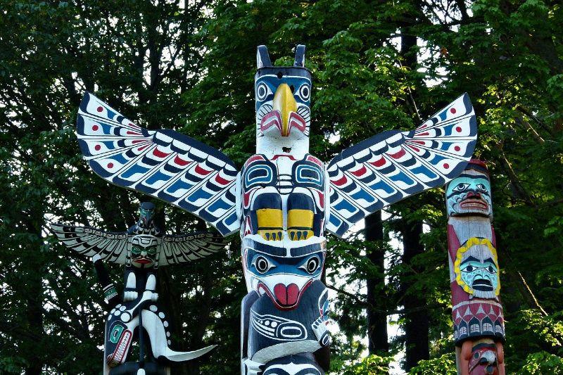 Vancouver de fietsstad van West Canada totems