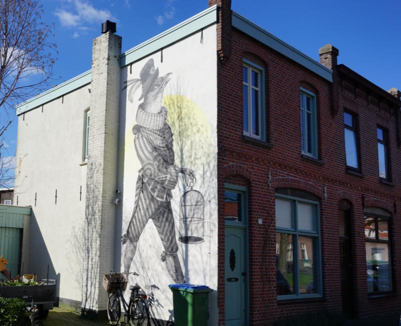 AlfAlfA street art Breda Dijklaan duif