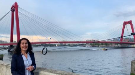Noordereiland 'first row' uitzicht op de Rotterdamse skyline