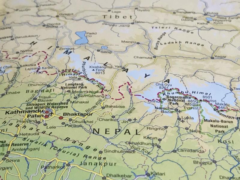 Rondreis Nepal landkaart