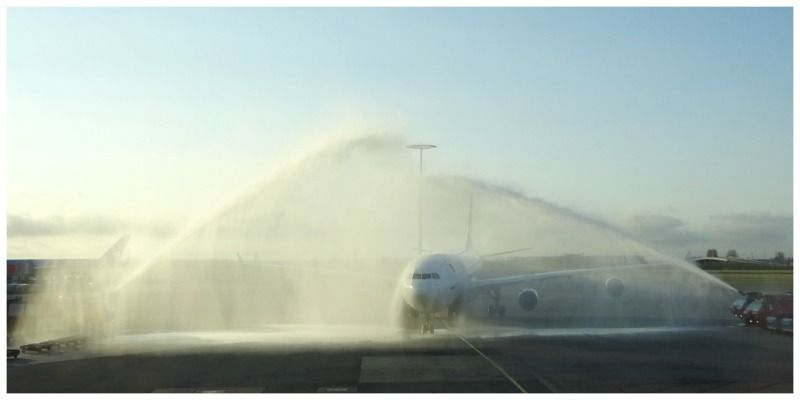 Air Mauritius water salute