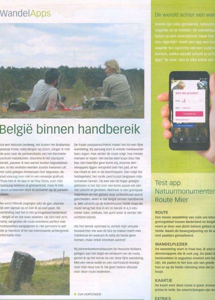 Artikel Te Voet Wandelkrant van Nederland