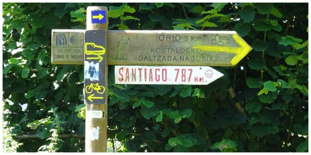 Spanje wegwijzer Santiago de Compostella
