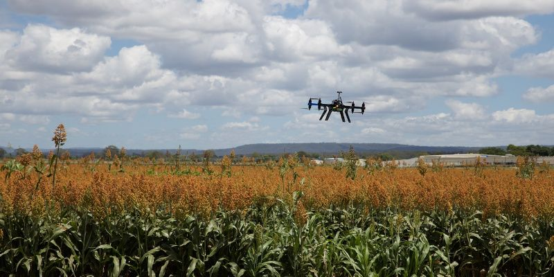 Drone op reis boven veld