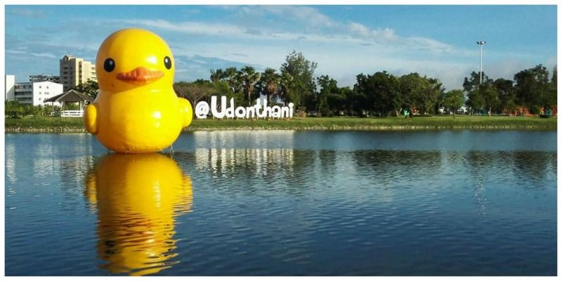 Thailand roadtrip Isaan Udon Thani Rubber Yellow floating duck