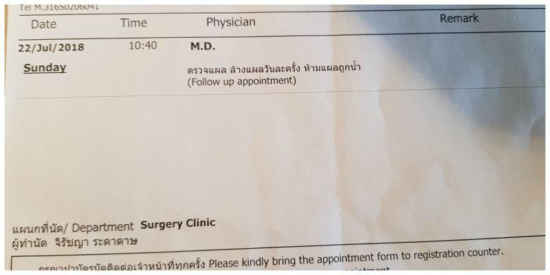 roadtip Thailand begint op de spoedeisende hulp follow up appointment
